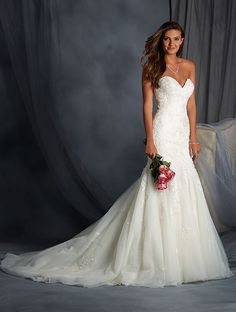 View Dress - ALFRED ANGELO BRIDAL 2016 Collection - 2558 - Embroidered Lace Fit and Flare Gown | AlfredAngelo Bridal
