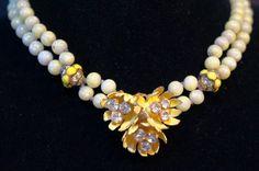 Vtg Unsigned Miriam Haskell Rhinestone Enamel Yellow Flower Spring Necklace