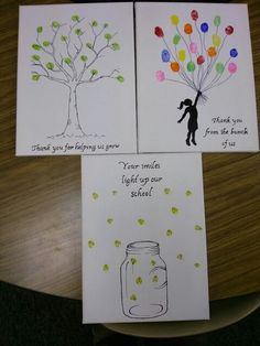 The gifts Mrs. Cudjoes's class made for our office secretaries, principal, and assistant principal. Sharpie, canvases, and stamp pads.