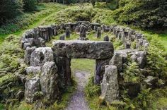 North Yorkshire incredible megalithic ensemble The Druids Temple, situated near Ilton, about 4 miles west of Masham is a folly created by William Danby of nearby Swinton Hall in 1820.