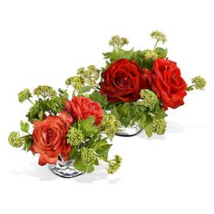 """Rose Bouquet  Garden Rose and Viburnum Bouquet Arrangement in 3"""" Glass Cube Vase, 10"""" W x 11"""" H. Please select salmon or beauty (red)."""