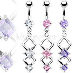 Pink Sparkly Double Marquise CZ Dangle Belly Naval Ring