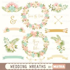 Flower clipart: WEDDING WREATHS CLIPART with by MashaStudio #wedding #clipart #wreath #digital #flower #stationary #floral #ribbon #banner #png #mashastudio #masha #studio #graphics
