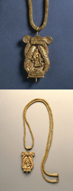 Chain and Pendant, 200s BC, Greece,  Hellenistic period, gold, Pendant - h:6.80 cm (h:2 5/8 inches) Chain - l:66.70 cm (l:26 1/4 inches).