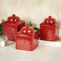 Savannah Red Kitchen Canister Set