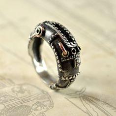 Silver Unisex Ring Handmade Steampunk Industrial by GatoJewel, $200.00