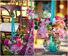 Decoração azul e rosa.