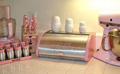 My beloved rare pink vintage Kromex bread box!
