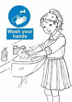 Signs Teaching Students The Importance Of Hand Washing Clipart Coloring Picture