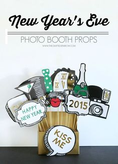 Let your guests ring in the new year with these easy to make DIY New Year's Eve Photo Booth Props at your next party or family festivities. via @craftedsparrow