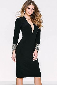 Black Long Sleeve Jersey Fitted Dress 40069