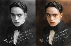 Rarely seen out of Character...Charlie Chaplin - original photo & colorized photo