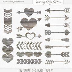 Digital Wood Heart Clipart  Wooden Arrow Clip Art  by HoneyClipArt