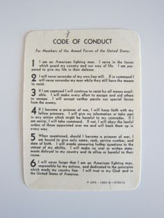 Code of conduct.........if everyone would just make half an effort to abide by these codes..........imagine!