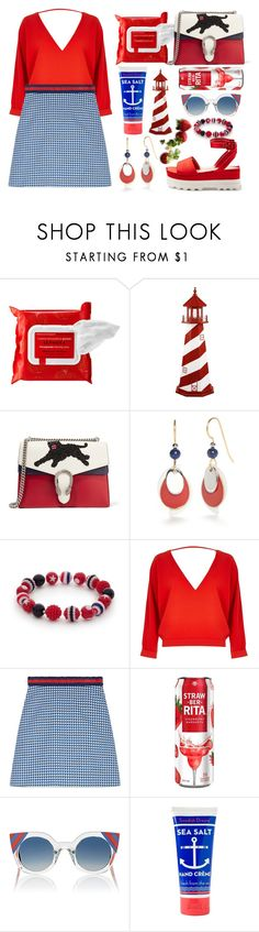 """""""Too much red"""" by lindaedwardss ❤ liked on Polyvore featuring Sephora Collection, DutchCrafters, Gucci, Silver Forest, Kim Rogers, River Island, Fendi and Jayson Home"""