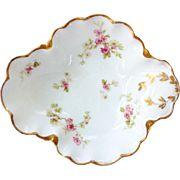 Haviland Limoges Antique Pink Floral Open Candy Dish