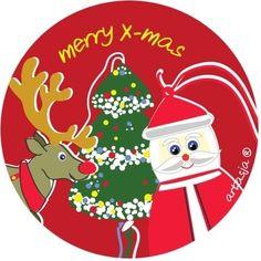 Gelukspoppetjes kerst sticker rond