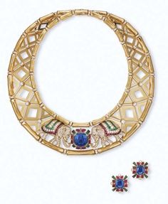 Cartier necklace and earrings via Christie's