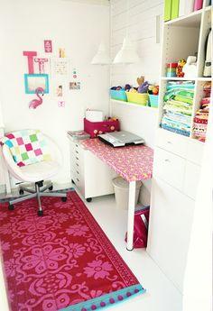 hot pink rug - mooie combinatie van kleuren