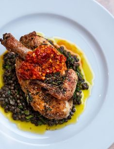 You'll find this aromatic poussin dish on the menu at Glasgow's Gloriosa. Try chef Rosie Healey's warming, wholesome recipe for a dinner party main Chef Recipes, Potato Recipes, Chicken Recipes, Cooking Recipes, Best Lentil Recipes, Vegetarian Recipes, Healthy Recipes, Lentil Stew, Lentil Salad