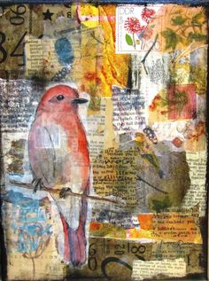 Original Mixed Media bird collage on canvas by Kitty69 on Etsy
