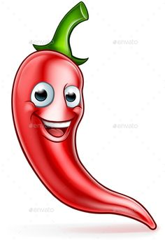 Buy Cartoon Red Chilli Pepper Mascot by Krisdog on GraphicRiver. A cute red chilli pepper cartoon character mascot Art Drawings For Kids, Cartoon Drawings, Cute Drawings, Comic Drawing, Vegetable Crafts, Funny Emoji Faces, Funny Fruit, Fruit Painting, Red Chilli