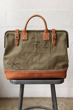 WWII era Salvaged Canvas Carryall Cow Hide, Cotton Canvas, Wwii, Leather Boots, Shoulder Strap, Beige, The Originals, Travel Essentials, Tote Bags