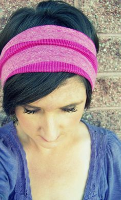 Simple Boho Wide Stretch Headband  Pink Stripe Sweater Knit by LCDecorStudio