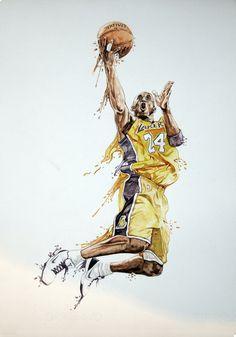 Kobe bryant watercolour by Daniel Berea, via Behance
