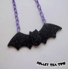 Creepy cute black bat necklace