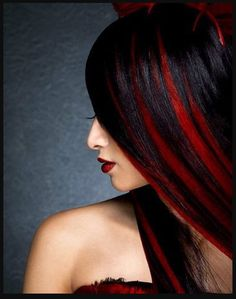 Black hair with red streaks