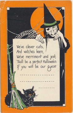 Vintage Halloween Postcard - Invitation | #1879886161