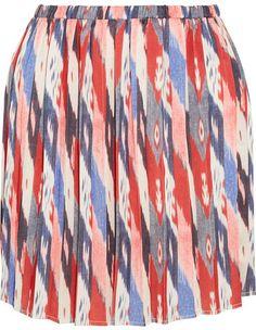 Étoile Isabel Marant - Hanoi Pleated Printed Satin Mini Skirt - Burgundy