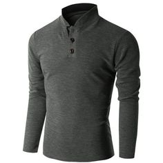 Doublju Men's Long Sleeve China Collar Henley Neck T-shirt (KMTTL0155)... ❤ liked on Polyvore featuring men's fashion, men's clothing, men's shirts, men's t-shirts, mens long sleeve collared shirts, mens collared shirts, mens longsleeve shirts, mens long sleeve t shirts and mens t shirts