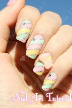 """Ice Cream Sundae""    ( pastel glitter pink yellow blue nail art nails tutorial ) sglrpick"