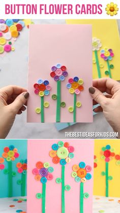 BUTTON FLOWER CARDS 🌼 - such a fun Mother's day craft for kids! Easy to make Mother's day cards. Perfect for kids to make! crafts for kids Easy Mother's Day Crafts, Mothers Day Crafts For Kids, Fun Diy Crafts, Mothers Day Cards, Easter Crafts For Kids, Button Crafts For Kids, Creative Crafts, Card Crafts, Summer Crafts