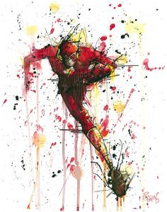 The Flash Superhero DC Comic Watercolor Painting Print Flash by Pascual Productions