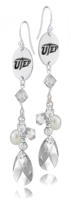 Texas El Paso Miners Crystal and Pearl Earrings