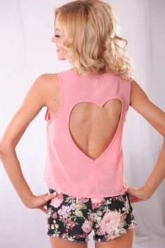 MAUVE CHIFFON SHEER HEART CUTOUT ROUND NECK TOP