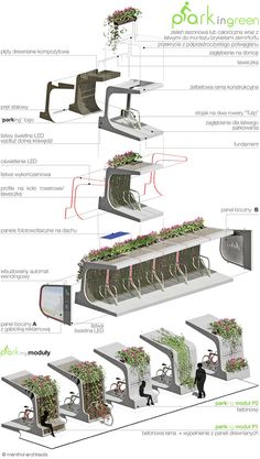 Modular green bike rack by Mala Architektura. Click image for full profile and…