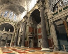 Baths of Rome. digital reconstruction NB: for more on these Baths see my board on HISTORY OF THE Ancient Ruins, Ancient Artifacts, Ancient Rome, Ancient Greece, Ancient History, Rome Architecture, Historical Architecture, Amazing Architecture, Visit Rome
