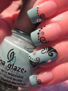 Nostalgic decoration on turquoise by Cajanails – Nail Art Gallery nailartgallery.na… by Nails Magazine www.nailsmag.com