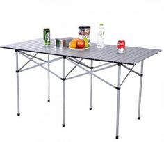 Folding Camping Table Roll Up Portable Outdoor Picnic Trip Aluminum W/ Carry Bag #FoldingCampingTable
