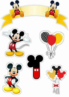 Mickey First Year Free Printable Cake Toppers. Baby Mickey, Disney Mickey Mouse, Bolo Mickey E Minnie, Mickey Mouse E Amigos, Mickey Mouse Cake Topper, Fiesta Mickey Mouse, Theme Mickey, Mickey Party, Mickey Mouse And Friends