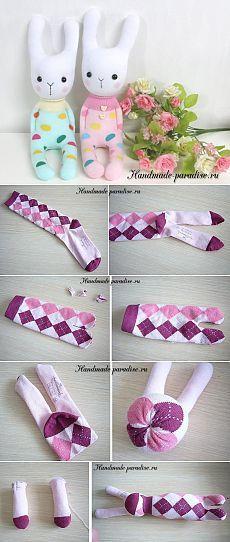 Как сшить зайку из носков - Handmade-Paradise