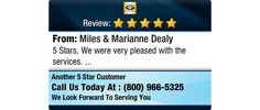 5 Stars. We were very pleased with the services.
