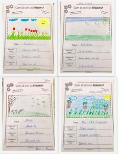 Haiku - este o poezie japoneza cu 3 versuri despre natura Haiku, Bullet Journal, Writing, School, Kids, Crafts, Literatura, Young Children, Boys