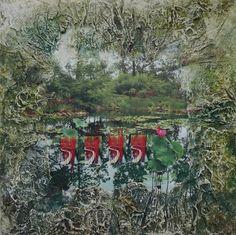 bois , papier mâché , peinture,photographie numérique, reflet dans l'eau