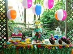 pool party decor with beach balls!!!! I love this idea to decorate the tents with !!!!