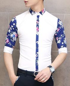 $13.36 Slimming Trendy Turn-down Collar Button Embellished Floral Print  Half Sleeves Shirt For Men